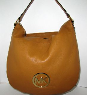 New Authentic Michael Kors Large Fulton Shoulder Bag in Tan Leather $