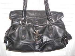 FRANCESCO BIASIA LARGE SECRET LOVE BLACK LEATHER SATCHEL HANDBAG