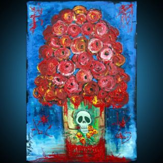 Flower Vase Floral Bouquet Skulls Art Day of Dead Los Muertos Folk Art