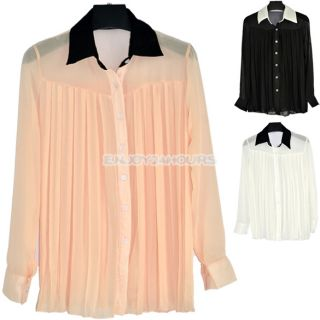 Korean Women Chiffon Pleated Shirt Blouse Tops Casual Long Sleeve
