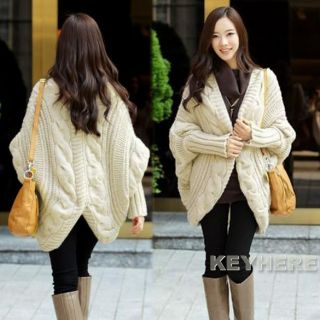 Korean Womens Bat Wing Long Sleeve Loose Sweater Cardigan K0E1 4