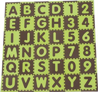 ABC & Numbers Green/Brown Eva Foam Playmat Floor Mat Set Tadpoles NEW