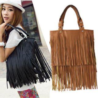 Tassel Fringe Women Fashion Leather Handbag Shoulder Bag Tote