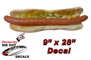 Foot Long Hot Dog 9x28 Decal Sign for Hot Dog Cart or Concession