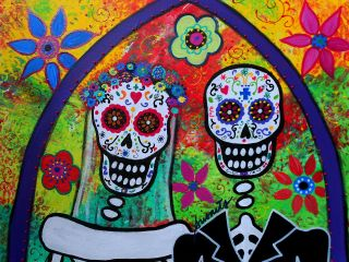 Mexican Folk Art Flower Wedding Prisarts Day of The Dead Painting