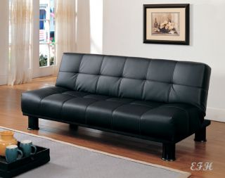 Fruitvale Modern Black Bycast Leather Futon Sofa Bed