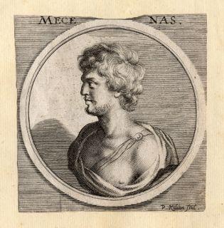 Antique Portrait Print Gaius Maecenas Sandrart 1675