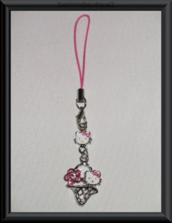 Cute Kitty Cell Phone Antenna Charm Strap Rose Crystals