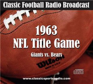 Chicago Bears vs. New York Giants 1963 NFL Title Game Radio Broadcast