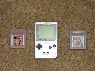 Nintendo Gameboy Game Boy Pocket Silver 2 Games