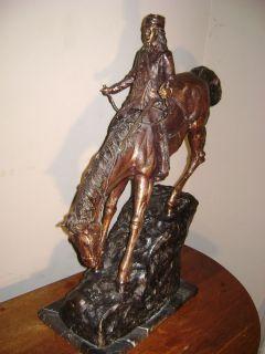 Mountain Man 28 3 4 H x 24L Frederic Remington Bronze Sculpture