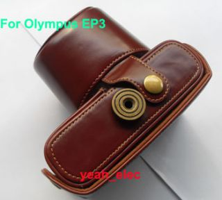 Leather case bag for OLYMPUS PEN E P3 EP3 14 42mm camera brown