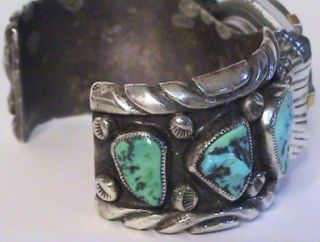 OLD PAWN NAVAJO SIGNED STERLING TURQUOISE WATCH BAND W/FREESTYLE WATCH