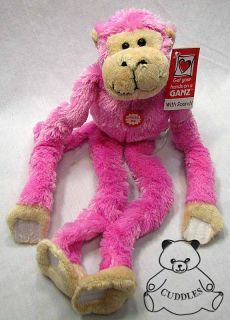 Monkey Dark Pink Sound Kiss Noise Ganz Plush Toy Stuffed Animal Bungee