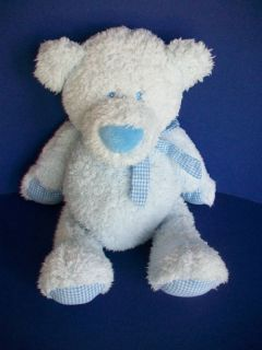 Baby Ganz Tubby Tummy Bear Blue Gingham Bow Paws Plush Lovey