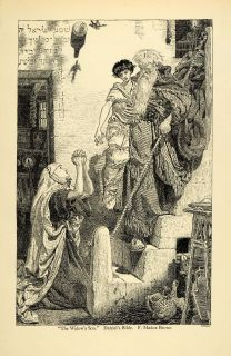 1920 Wood Engraving Ford Madox Brown Art Widows Son Elijah Religious