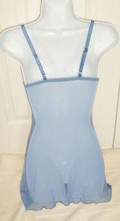 Fredericks of Hollywood Lingerie Blue Bra Full Slip Sz XS Nylon