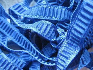 vintage french blue plisse ribbon 4 yards