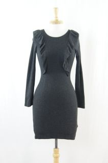 French Connection Dark Gray Ruffled Knit Stretch Dress Size 2