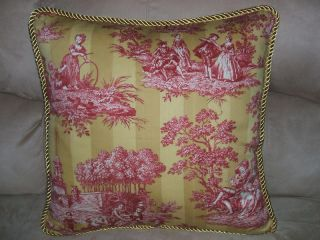 20 Red Yellow Gold French Country Toile Pillow Fabric