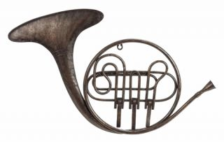Benzara 34721 Musical French Horn Metal Wall Decor Sculpture