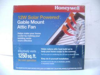 SEALED NEW Honeywell 12W Solar Powered Gable Mount Attic Fan