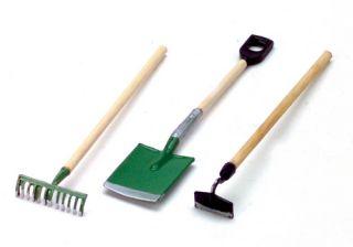 Dollhouse Miniature Garden Tools Rake Shovel Hoe Set