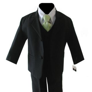 Boy Black Formal Suit w Lime Green Tie Choice of Size