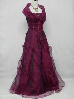 Purple Long Bridesmaid Prom Ball Wedding Evening Gown Dress