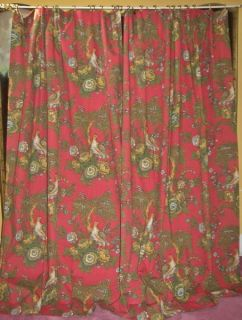 Bird Floral Toile Victorian French Country Drapes Curtains Pair