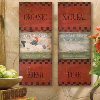 St 2 French Country Tuscan Rooster Antiqued Wall Plaques Kitchen Decor