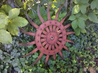 Old Industrial Garden Cultivator Wheel Gear Wall Decor Sculpture Red