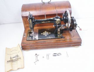 Antique German W.J. Harris Defiance 3 Hand Crank Sewing Machine Singer