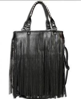 Fashion Womens Punk Tassel Fringe Leather handbag Shoulder Bag Black