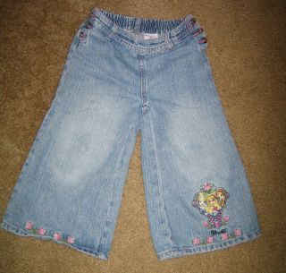 Girls 6 6X Disney Princess Gaucho Capri Jeans Denim Pants Aurora Belle