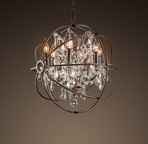 Restoration Hardware Foucaults ORB Crystal Chandelier Rustic Iron