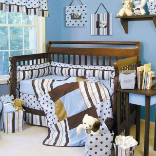 Brown Polka Dot Baby Boy Infant 4 PC Nursery Crib Bedding Set