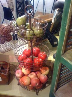 Tuscan 3 Tier Metal Fruit Basket French Country Market Paloma Antique