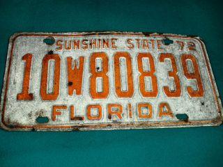 Vintage 1972 Floride State License Plate 72 Hot Rod Muscle Car Era