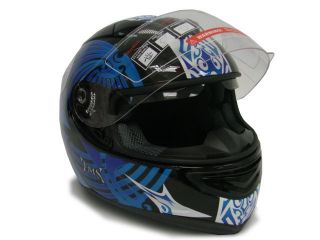 Blue Black Dual Visor Full Face Motorcycle Helmet Sun Shield