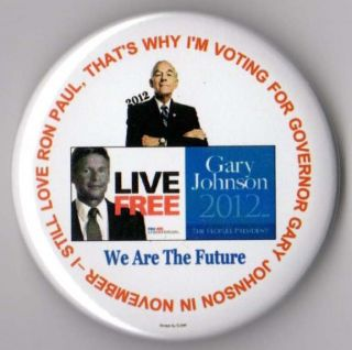 Gary Johnson campaign button pin 2012 Libertarian Party Ron Paul