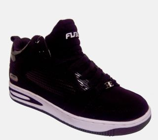FUBU Adair Mens Black White Classic Lace Up Athletic Fashion Shoe