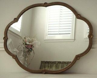 Vintage Gilt Metal Shell Motif Scalloped Frame Mirror