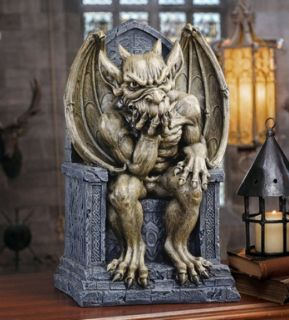 Gothic King of the Gargoyles on Throne Statue. Medieval Display Prop