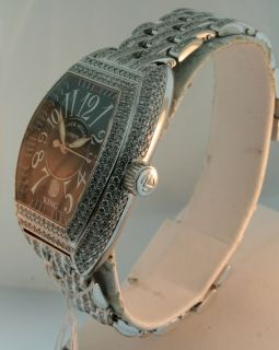 Franck Muller King Conquistador All Diamond 18K White Gold Mens Watch