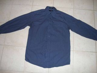 Fumagalli Mens Dress Shirt 15 5 34 Blue Button Down Medium Stripes M