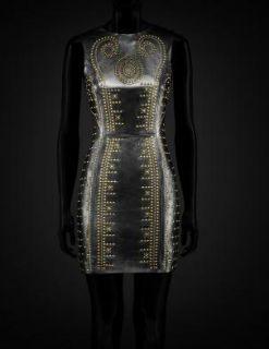 Auth Versace H M Black Leather Studs Dress US 8 EU 38 UK 12 SOLDOUT