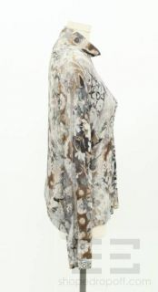 Fuzzi Grey Taupe Silk Cashmere Knit Floral Print Turtleneck Sweater Sz