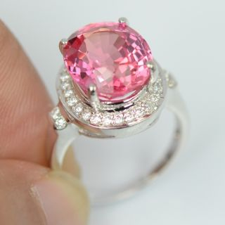 Padparadscha Sapphire White Sapp Sterling Silver 925 Ring Size 6 25 US