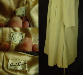 Vintage 40s 50s Tan Camel Wool Theater Dinner Dress Clutch Coat Jacket